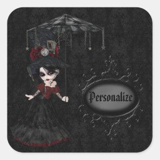 Pegatinas personalizados negro del chica del gótic calcomania cuadradas personalizada