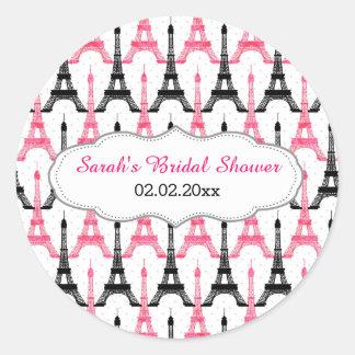 Pegatinas personalizados rosa elegante de la torre pegatina redonda