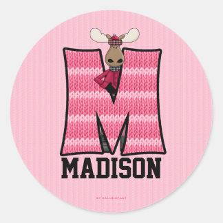 """Pegatinas personalizados rosados del monograma """"M"""" Etiquetas Redondas"""