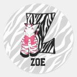 "Pegatinas personalizados rosados del monograma ""Z"" Pegatinas Redondas"