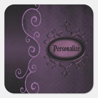 Pegatinas personalizados vintage púrpura gótico calcomanía cuadradas personalizadas