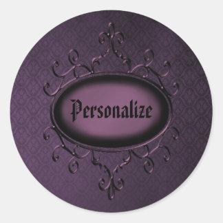 Pegatinas personalizados vintage púrpura gótico pegatina redonda