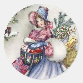 Pegatinas - petirrojo del vintage de la señora del pegatina redonda