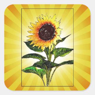Pegatinas pintados soleados del girasol pegatina cuadrada