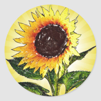Pegatinas pintados soleados del girasol pegatina redonda