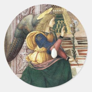 Pegatinas Pinturicchio del navidad del ángel del Etiqueta Redonda
