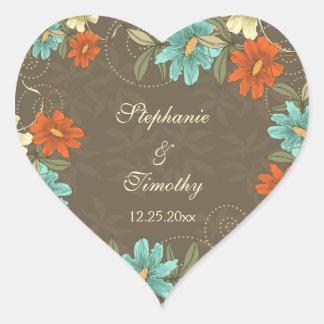 Pegatinas poner crema anaranjados del boda de la pegatina corazon personalizadas