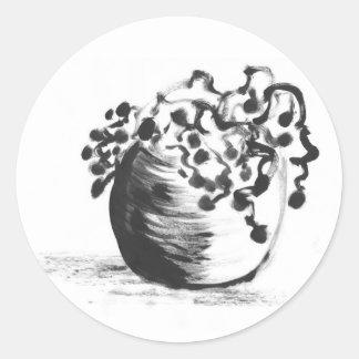Pegatinas Potted de la planta del cepillo chino de Etiquetas Redondas