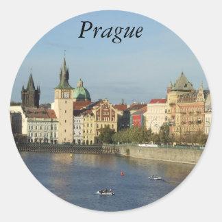 Pegatinas Praga de la República Checa de Praga Etiqueta Redonda