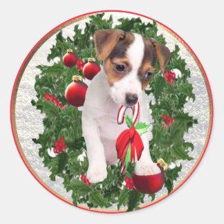 Pegatinas preciosos del navidad de Jack Russell Pegatina Redonda