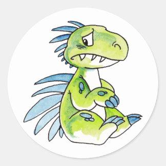 Pegatinas preocupantes del dinosaurio pegatina redonda