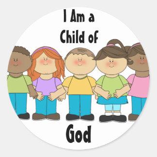 Pegatinas primarios de LDS - soy un niño de dios Etiqueta Redonda