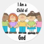 Pegatinas primarios de LDS - soy un niño de dios Pegatina Redonda