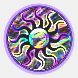Pegatinas psicodélicos de Sun y de la luna Pegatina Redonda