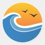 Pegatinas: Puesta del sol grande de la onda Etiquetas Redondas
