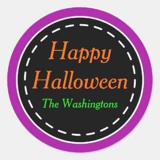 Pegatinas púrpuras brillantes del feliz Halloween Pegatina Redonda
