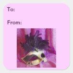 Pegatinas púrpuras de la etiqueta del regalo de la