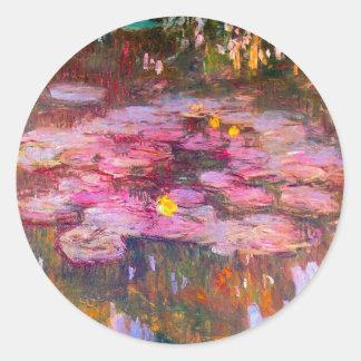 Pegatinas púrpuras de los lirios de agua de Monet Pegatinas Redondas