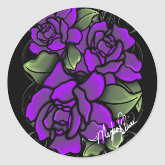 Pegatinas púrpuras de los rosas pegatina redonda