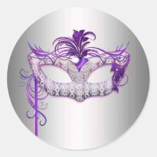 Pegatinas púrpuras de plata del fiesta de la pegatina redonda
