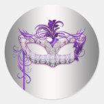 Pegatinas púrpuras de plata del fiesta de la masca