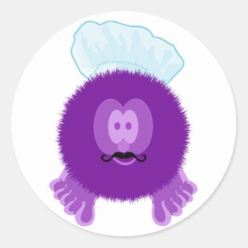 Pegatinas púrpuras de Pom Pom PAL del cocinero Pegatina Redonda