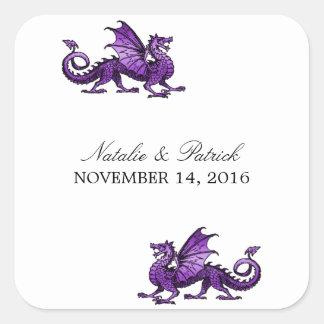Pegatinas púrpuras del boda del dragón calcomanía cuadrada