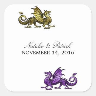 Pegatinas púrpuras del boda del dragón del oro colcomanias cuadradass