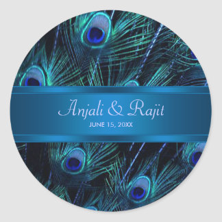 Pegatinas púrpuras del boda del pavo real del azul pegatina redonda