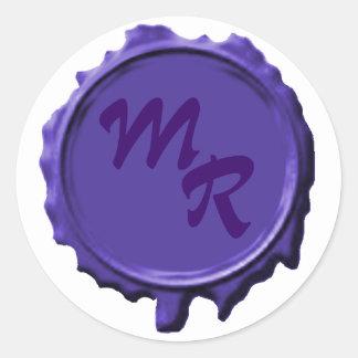 Pegatinas púrpuras del boda del sello del pegatina redonda