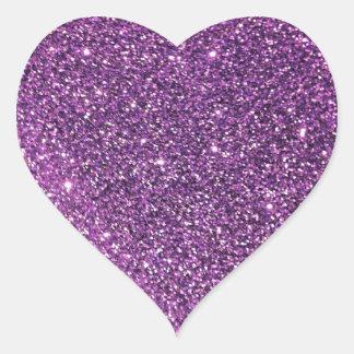 Pegatinas púrpuras del corazón del brillo pegatina en forma de corazón