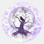 Pegatinas púrpuras del cuervo de la luna de la lav