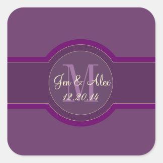 Pegatinas púrpuras del favor del boda del ciruelo pegatina cuadrada