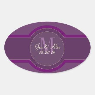 Pegatinas púrpuras del favor del boda del ciruelo pegatina ovalada
