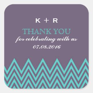 Pegatinas púrpuras del favor del boda del modelo d calcomanía cuadradas personalizada