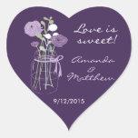 Pegatinas púrpuras del favor del boda del tarro de