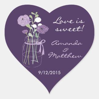 Pegatinas púrpuras del favor del boda del tarro de pegatina en forma de corazón