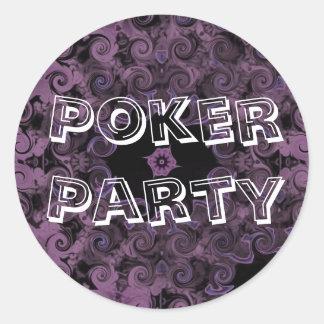 Pegatinas púrpuras del fiesta del póker pegatina redonda