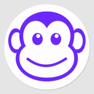 Pegatinas púrpuras del mono pegatina redonda