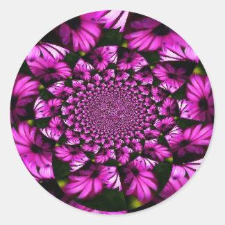 Pegatinas púrpuras del remolino pegatina redonda