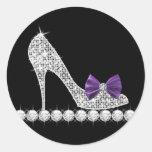 Pegatinas púrpuras del zapato del tacón alto