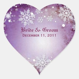 Pegatinas púrpuras hivernales del boda pegatinas corazon personalizadas