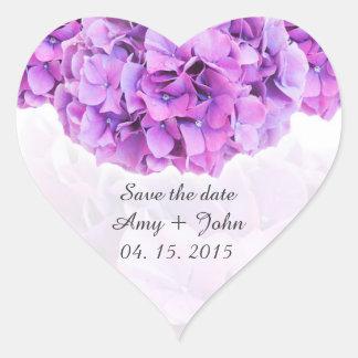 Pegatinas púrpuras hydrangea4 del boda del pegatina en forma de corazón