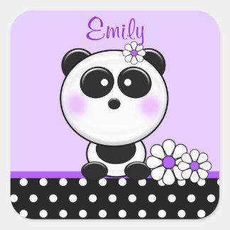 Pegatinas púrpuras personalizados de la panda pegatina cuadrada