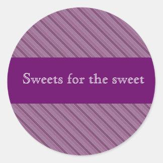 Pegatinas púrpuras personalizados de la raya para pegatina redonda