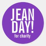 Pegatinas púrpuras simples del día de Jean Pegatina Redonda