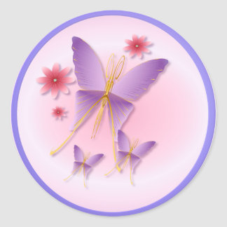 Pegatinas púrpuras suaves de la mariposa