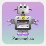 Pegatinas púrpuras y azul personalizados del robot pegatina cuadradas personalizada