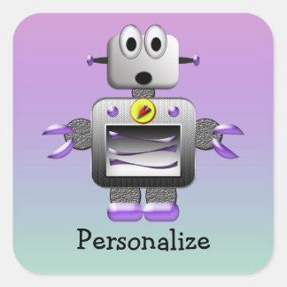 Pegatinas púrpuras y azul personalizados del robot pegatina cuadrada