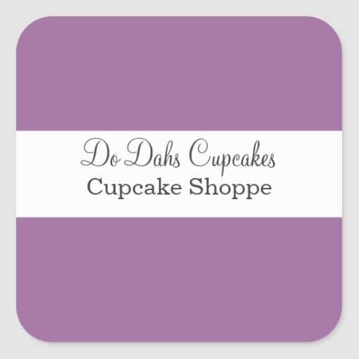 Pegatinas púrpuras y blancos de la panadería colcomanias cuadradas